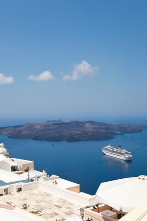 thira: Cruise ship in Thira, Santorini island, Greece Stock Photo