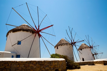 Famous windmills in Mykonos island, Greece on a summer day