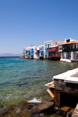 Little Venice in a greek island of Mykonos, Greece photo