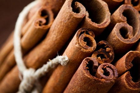 Close-up of aromatic cinnamon sticks for Christmas Stock Photo