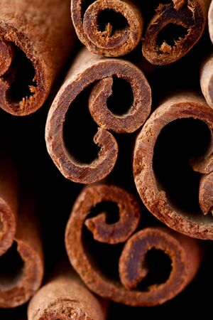 Close-up detail of aromatic cinnamon sticks