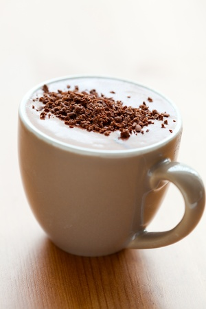 Close-up of delicious hot chocolate with chocolate sprinkles