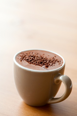 warm drink: Close-up of delicious hot chocolate with chocolate sprinkles