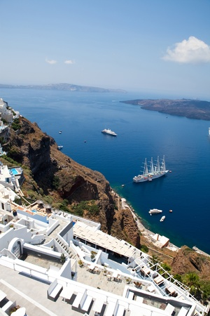 thira: View of Thira town in Santorini island, Greece Stock Photo