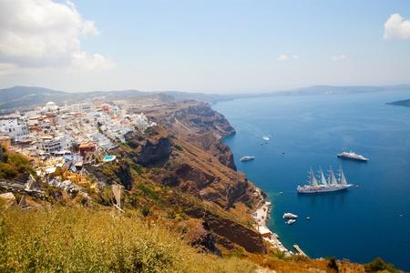 thira: View of Thira town in Santorini island, Greece Stock Photo
