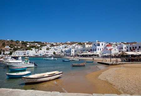 View of the town with fishing boats in Mykonos, Greece Stock Photo