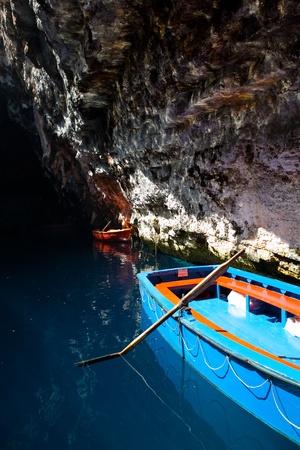 Beautiful Melissani underground lake in Kefalonia, Greece photo