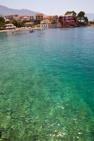 View of beautiful historical Assos village in Kefalonia, Greece photo