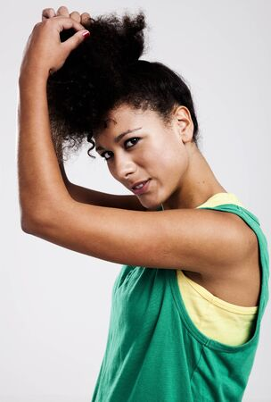 Portrait of a beautiful athletic woman. Studio shot. photo