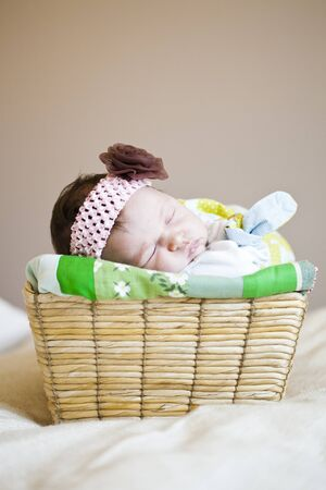 Portrait of a cute newborn baby girl sleeping in a basket photo