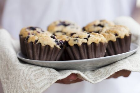 Close-up on delicious and healthy home-made blueberry muffins photo