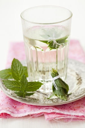 Close-up of refreshing mint tea with fresh mint photo