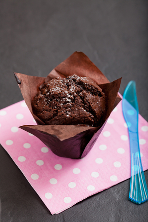 Closeup of chocolate muffin sprinkled with icing sugar and blue plastic fork resting on pink serviette with white spots photo