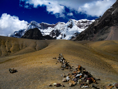 stone cairns on the ausangate trail, Peru