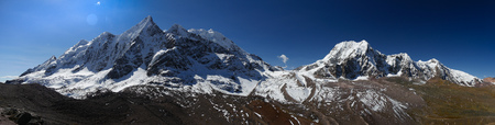 panorama view on the ausangate trail. Peru