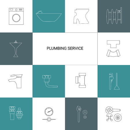 tube wrench: Plumbing service and tools vector icon set.