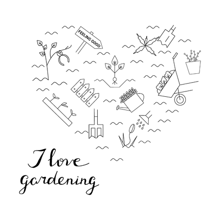 Gardening elements in the form of heart. I love gardening card. Vector line icons. Colorful spring blooming garden.