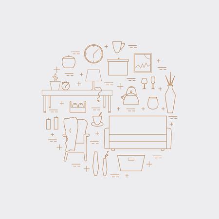 Houseware vector elements. Homewares line icon set on a white background. Interior design round concept.