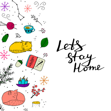 limon: Lets stay home colorful poster. Cute doodles with cat, fox, candle, tea, snow, forest elements.