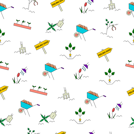 Gartenarbeit-nahtloses Muster des Frühlinges. Checkliste für die Gartenreinigung mit Pflanzen von Stauden, Graben und Mulchen, Säubern, Schneiden von Büschen und Bäumen, Säen von Samen, Entfernen von Unkraut, Bewässern von Pflanzen. Vektorlinie Ikonen. Standard-Bild - 72706966