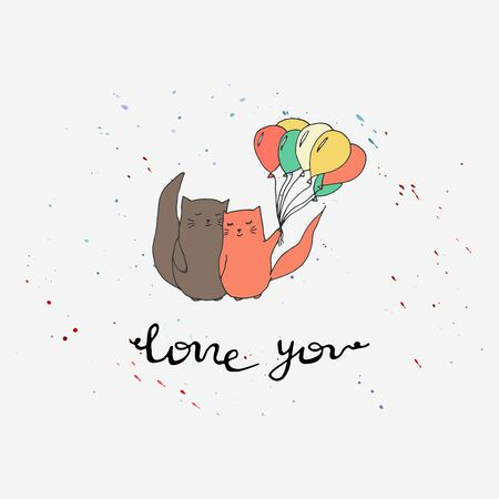 Hand drawn cats love collection. Colorful printable vector illustration with lettering. Cat with balloons.