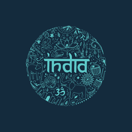 mantra: Symbols of India in the form of circle. Hand drawing elements of India on a dark blue background. Illustration