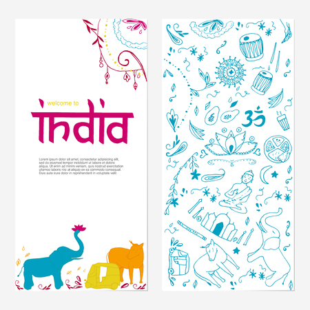 Welcome to India brochure. Hand drawing elements of India.