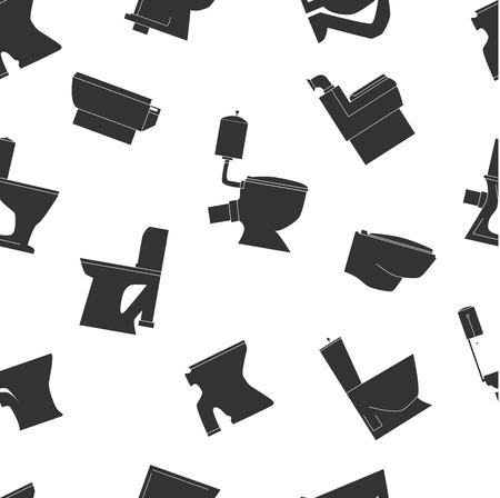 Toilet types seamless pattern. Black line icons. Toilet bowls vector illustration.