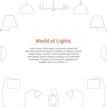 World Of Lights Concept. Lamp Line Icons On A White Background ...