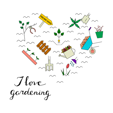removing: Gardening elements in the form of heart. I love gardening card. Vector line icons. Colorful spring blooming garden.