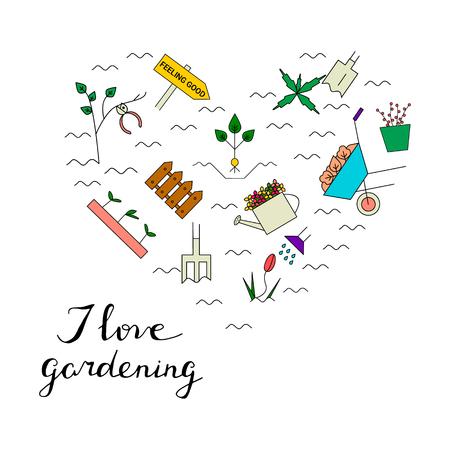 Gartenarbeitelemente in Form von Herzen. Ich liebe Gartenarbeitkarte. Vektor-Linie-Symbole. Blühender Garten des bunten Frühlinges. Standard-Bild - 72706837
