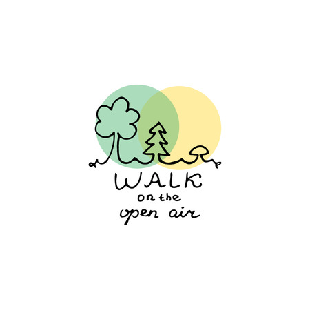 Walk on the open air design. Hand drawn vector illustration.