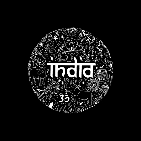 Symbols of India in the form of circle. Hand drawing elements of India on a black background.