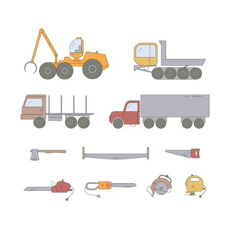Forest industry line icon set. Woodworking isolated vector elements. Forest harvester, truck dumper, truck, trailer and tools. Wood transportation equipment. Flat line collection. Illustration