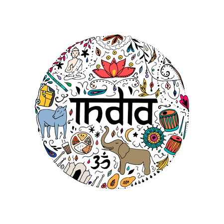 Colorful India in the form of circle. Hand drawing elements of India on a white background.