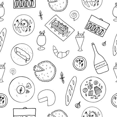Hand drawn cuisine française pattern.