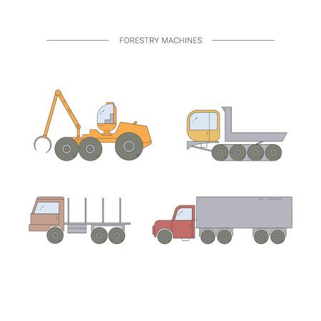 Máquinas forestales conjunto de iconos de línea. Cosechadoras de bosques, camiones, camiones, remolques. Equipo de transporte de madera. Ilustración de vector