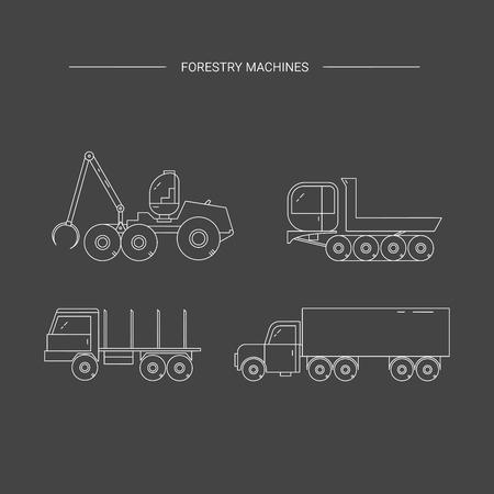 logging: Forestry machines line icon set. Forest harvester, truck dumper, truck, trailer. Wood transportation equipment on a black background.