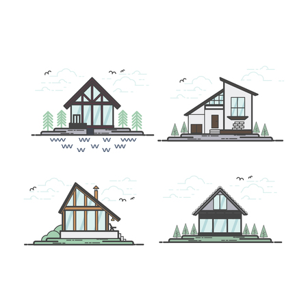Vector flat line house collection with trees, clouds, birds.