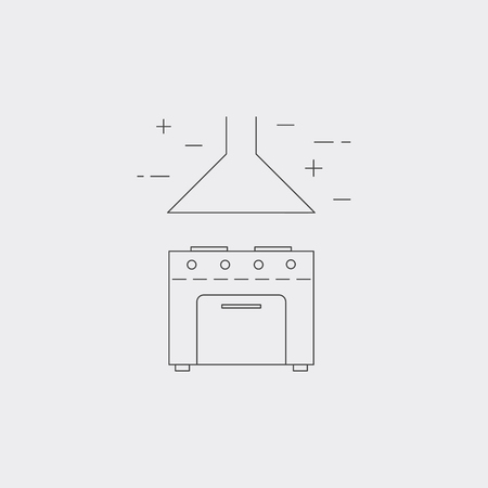ranges: Oven line icon isolated on white background. Stove with filter system. Kitchen equipment. Illustration