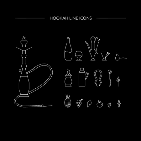 Hookah accessories line icon set. Hookah lounge supplies. Vector illustration on a black background.