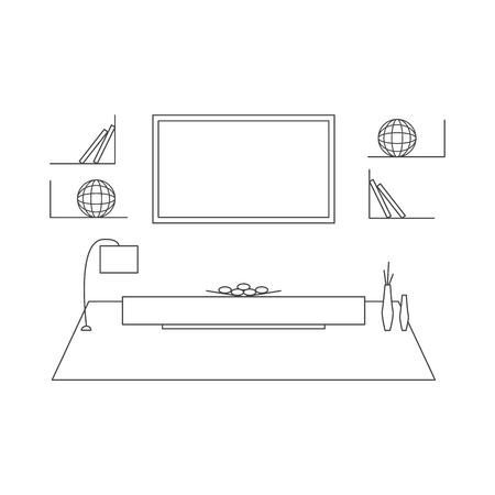 Living Room Design In High Tech Style. Modern Minimalism. Line Art. Mono  Vector
