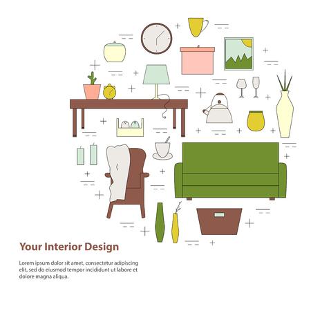 Housewares vector elements. Home appliances line icon set. Interior design round concept with simple text.