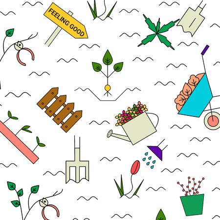 Gartenarbeit Elemente Vektor-Muster. Ich liebe Gartenarbeithintergrund. Blühender Garten des bunten Frühlinges. Standard-Bild - 76310013