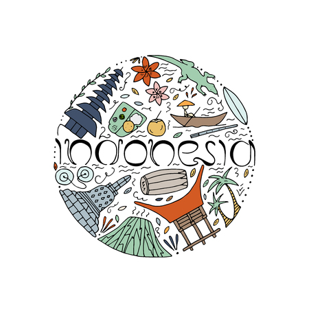 Hand drawn concept with symbols of Indonesia including Bromo volcano, Komodo, Borobudur, temple, food, house, musical instruments. Vector illustration. Stock Illustratie