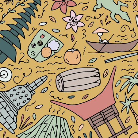 Hand drawn pattern with symbols of Indonesia. Vector illustration.