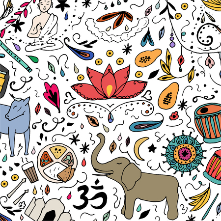 Colorful India pattern. Hand drawn elements of India on a white background.