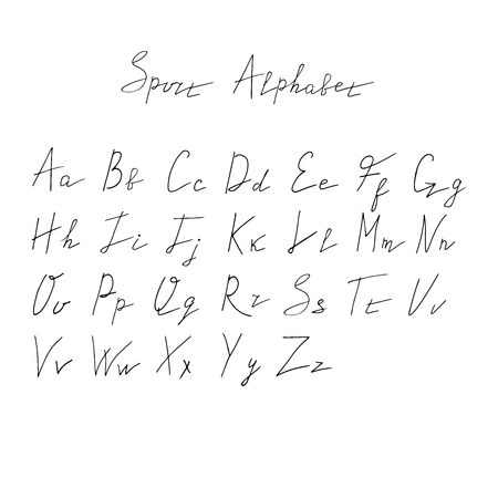 Dynamic hand drawn sport alphabet. Thin line vector font.
