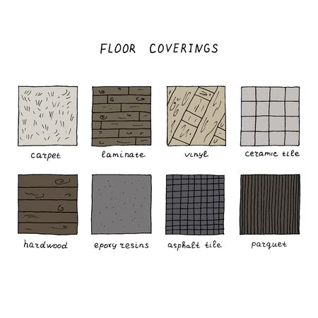 floor coverings: Hand drawn floor coverings. Carpet, laminate, vinyl, ceramic tile, hardwood, epoxy resins, asphalt tile, parquet.
