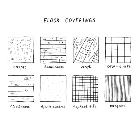 Hand drawn floor coverings. Carpet, laminate, vinyl, ceramic tile, hardwood, epoxy resins, asphalt tile, parquet.